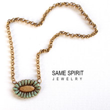 SALE - necklace RIVERWALK  (turquoise and camel)
