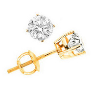 14K Yellow Gold Brilliant Cut Diamond Martini Stud Earrings 0.85 CTW