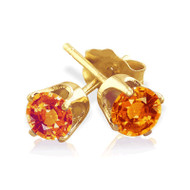 14K Gold Padparadscha Sapphire Stud Earrings