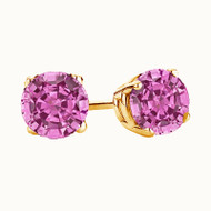 14K Yellow Gold Pink Sapphire Stud Earrings