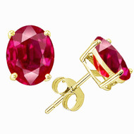 14K Gold Oval Ruby Stud Earrings