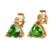 14K Gold Chrome Diopside Stud Earrings