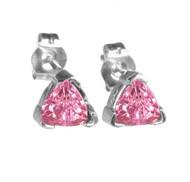 14k Gold Trillion Pink Sapphire Stud Earrings