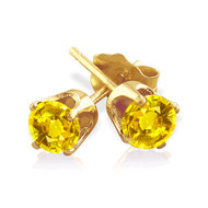 14k Gold Yellow Sapphire Stud Earrings