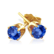 14K Gold Round  Blue Sapphire Stud Earrings