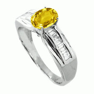 18K White Gold Oval Yellow Sapphire and Baguette Diamond Ring