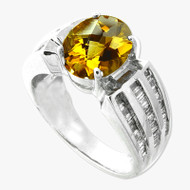 14K White Gold Citrine Baguette Diamond Ring