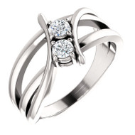 Platinum 1/4 Carat Diamond Two Stone Solitaire Ring