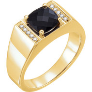 Men's Onyx and 1/10 CTW Diamond Ring in 14k Yellow or White Gold