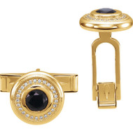 14K Gold Onyx and Diamonds Cufflinks