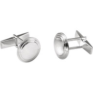 Sterling Silver Posh Mommy Round Engravable Cufflinks
