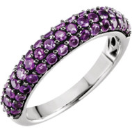 14K White Gold Pave Amethyst Ring