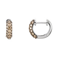 14K White Gold Pave Brown Diamond Hoop Earrings