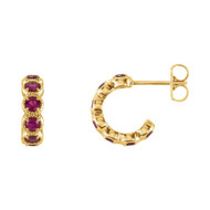 14K  Gold 2.55 MM Ruby Hoop Earrings