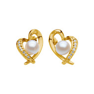 14K Yellow Gold Akoya Cultured Pearls and Diamond Heart Earrings