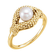 Freshwater Cultured Pearl Beaded Ring 14K Gold