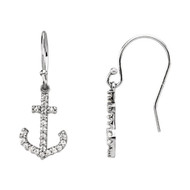 Diamond Anchor Earrings in 14K White Gold