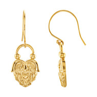 Vintage Style Dangle Heart Earrings in 14k Yellow or White Gold