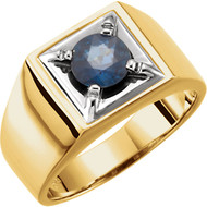 14K Two-Tone Gold Blue Sapphire Men's Illusion Ring