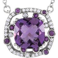 14K White Gold Amethyst 1/6 CTW Diamond Necklace