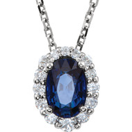 Blue Sapphire and 1/6 CTW Diamond Necklace in 14k White Gold