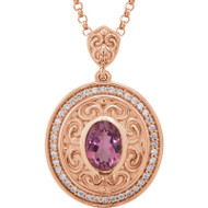 Pink Tourmaline and 1/5 CTW Diamond Vintage Style Necklace in 14k Rose Gold