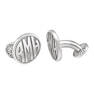 16 MM 3 Letter Block Monogram Cufflinks in Sterling Silver