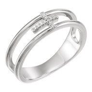 0.03 CTW Diamond Negative Space Cross Ring