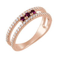 Pink Tourmaline and 1/4 Diamond Negative Space Ring 14K Rose Gold