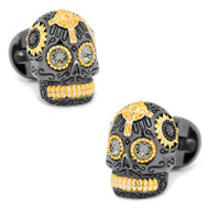 Day of the Dead Skull Cufflinks in Black and Vermeil