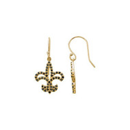 1/2 CTW Black Diamond Fleur de Lis Earrings in 14K Yellow or White Gold