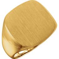Men's Solid Signet Ring 18K Yellow Gold