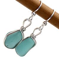vivid aqua sea glass earrings in sterling