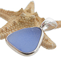 Blue sea glass in a sterling silver pendangt
