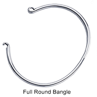 Full Round Solid Sterling Bangle Bracelet