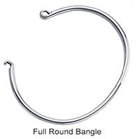 Full Round Solid Sterling Bangle Bracelet