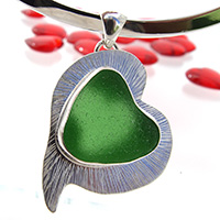 green sea glass heart necklace