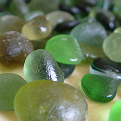 Green genuine or real sea glass pieces