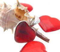 Ultra rare natural red sea glass heart pendant