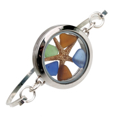 Color Clock - Blue, Green and Amber Sea Glass Beach Bangle Locket Bracelet