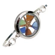 Color Clock - Blue, Green and Amber Sea Glass Beach Bangle Locket Bracelet