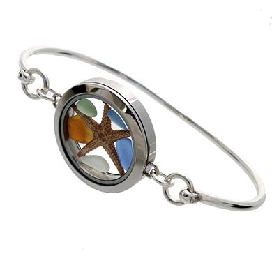 Sea glass bangle bracelet with locket and genuine sea glass