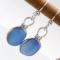 Bright blue sea glass earrings in silver