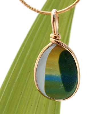 Ultra Rare Seaham Multi sea glass piece in a gold bezel pendant