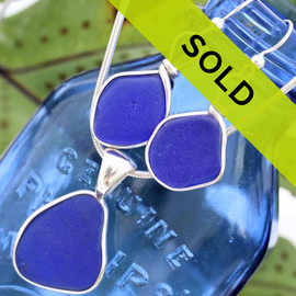 Perfectly matched natural GENUINE blue sea glass is set in a nice set, great for any beach lover. Nice sea glass earrings in a medium size with a sea glass pendant on a silver necklace!  THIS SET HAS SOLD