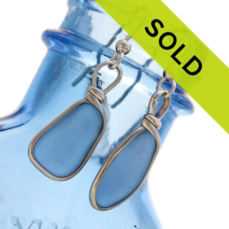 Perfect Carolina Blue Genuine Sea Glass Earrings In Sterling Wire Bezel©