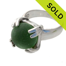A high profile sterling silver ring set with a piece of UNALTERED English sea glass in a solid sterling ring. SOLD - sorry this Sea Glass Ring is NO LONGER AVAILABLE!