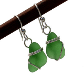 Smaller green sea glass pieces set in a simple sterling silver for a lovely petite pair of earrings.
