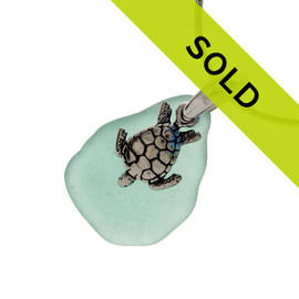 This aqua sea glass necklace with turtle charm has sold!