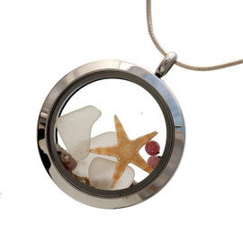 Pure white sea glass combined with a baby starfish and beach sand in this twist top stainless steel locket necklace. Pink Tourmaline gem beads make this a great gift for anyone with an October Birthday!
